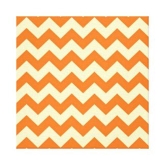 Orange Cream Citrus Chevron ZigZag Stripes Gifts Canvas Print