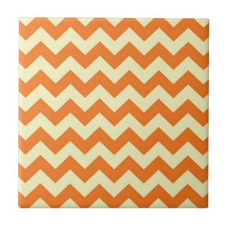Orange Cream Citrus Chevron ZigZag Stripes Gifts Ceramic Tile