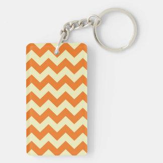 Orange Cream Citrus Chevron ZigZag Stripes Gifts Double-Sided Rectangular Acrylic Keychain