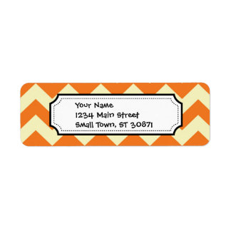 Orange Cream Citrus Chevron ZigZag Stripes Gifts Label