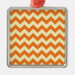 Orange Cream Citrus Chevron ZigZag Stripes Gifts Ornament
