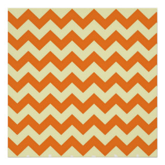 Orange Cream Citrus Chevron ZigZag Stripes Gifts Print