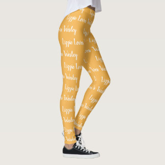 Orange Cream Custom Names Love Leggings