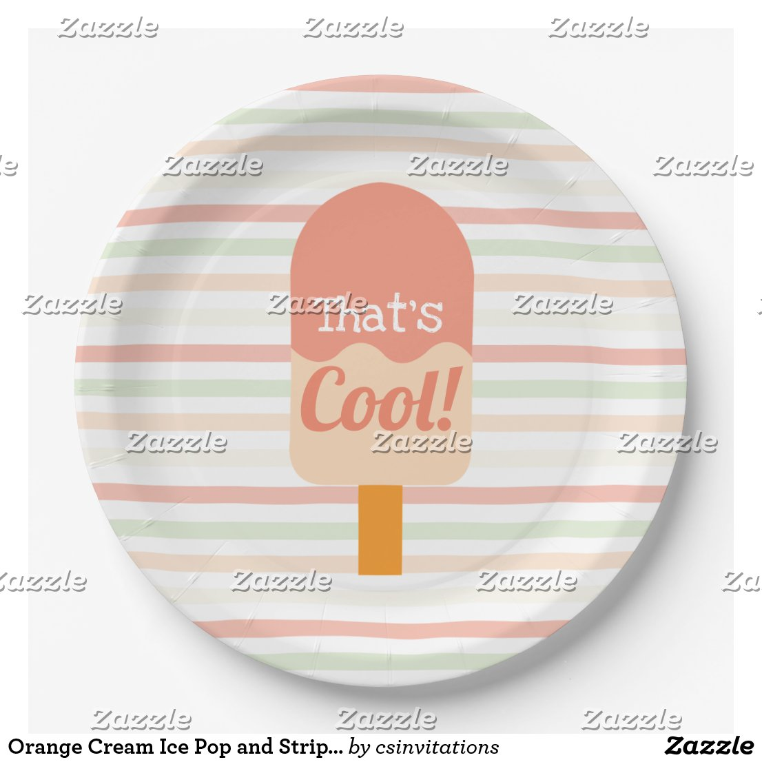 Orange Cream Ice Pop and Stripes Birthday Party Paper Plate