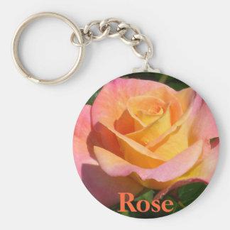 Orange Cream Rose Basic Round Button Keychain