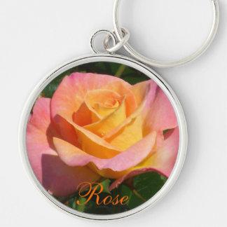 Orange Cream Rose Silver-Colored Round Keychain