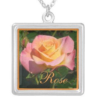 Orange Cream Rose Square Pendant Necklace