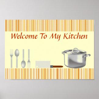 Orange Cream Striped Kitchen Poster