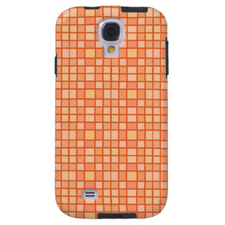 Orange Creamcicle Squares Checkerboard Tile Art Galaxy S4 Case