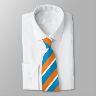 Orange Creme and Powder Blue Diagonally-Striped Neck Tie