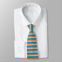 Orange Creme and Powder Blue Horizontally-Striped Tie