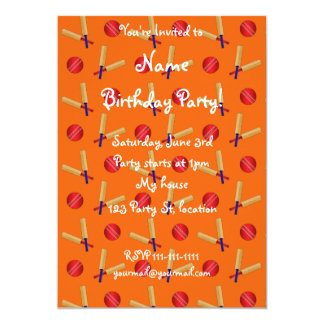 orange cricket pattern 5x7 paper invitation card