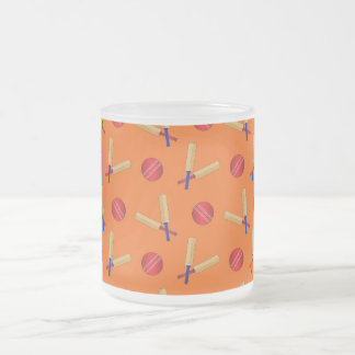 orange cricket pattern 10 oz frosted glass coffee mug