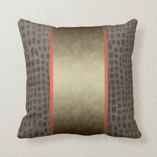 Orange Croc skin, floral pillow Throw Pillows