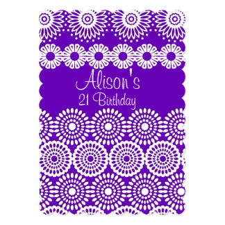 Orange crochet lace girly vintage flowers Birthday Card