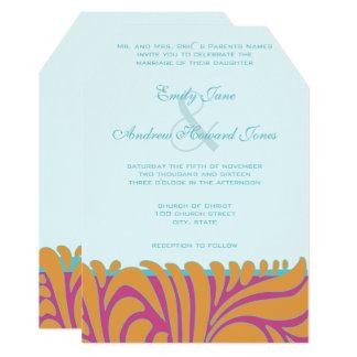 Orange Crush Aqua Fuchsia Swirls on Silver Card