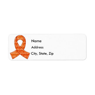 Orange Crystal Ribbon Kidney Cancer MS Leukemia Label