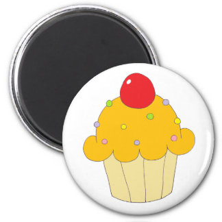 Orange Cupcake 2 Inch Round Magnet