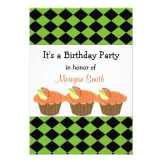 Orange Cupcake  Birthday Invitation