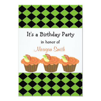 Orange Cupcake  Birthday Invitation