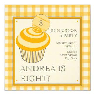 Orange Cupcake Birthday Party Invitation