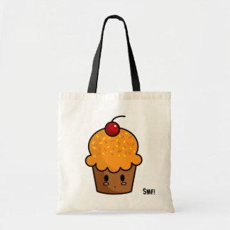 Orange Cupcake Budget Tote Canvas Bag