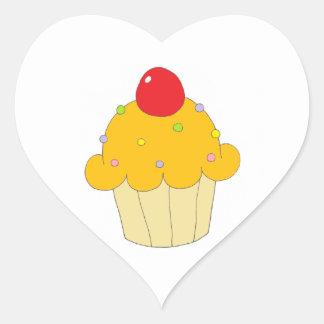 Orange Cupcake Heart Sticker