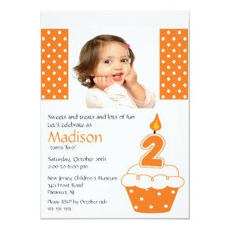 Orange Cupcake Photo 2nd Birthday Invitation