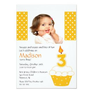 Orange Cupcake Photo 3rd Birthday Invitation
