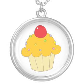 Orange Cupcake Silver Plated Necklace