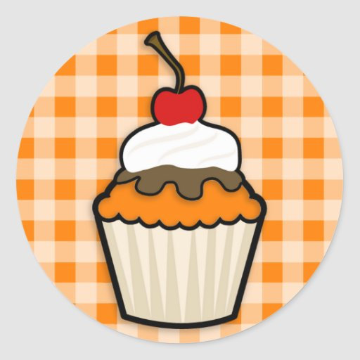 Orange Cupcake Round Stickers