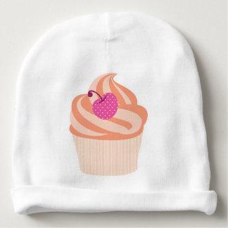 Orange Cupcake with Pink Cherry and Orange Stripes Baby Beanie