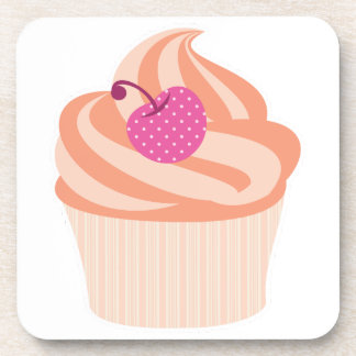 Orange Cupcake with Pink Cherry and Orange Stripes Beverage Coaster