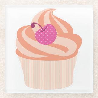 Orange Cupcake with Pink Cherry and Orange Stripes Glass Coaster