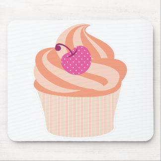 Orange Cupcake with Pink Cherry and Orange Stripes Mouse Pad