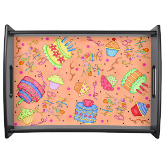 Birthday Cake Serving Trays Food Trays Zazzle