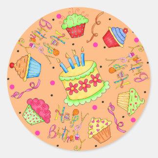 Orange Cupcakes and Cake Happy Birthday Classic Round Sticker