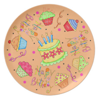 Orange Cupcakes and Cake Happy Birthday Party Plate