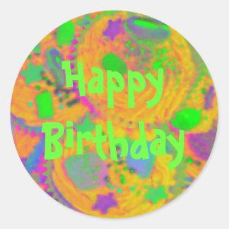 Orange Cupcakes 'Happy Birthday ' sticker