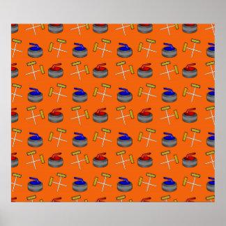 orange curling pattern poster