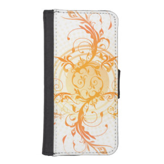 Orange Curlique Wallet Phone Case For iPhone SE/5/5s