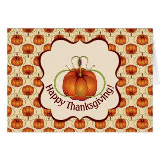 Orange Curvy Pumpkin Autumn Pattern Card