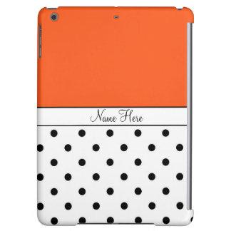 Orange Custom Name, Black & White Polka Dots iPad Air Covers