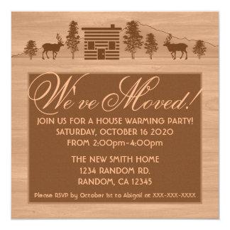 Orange customizable log cabin moving invitations