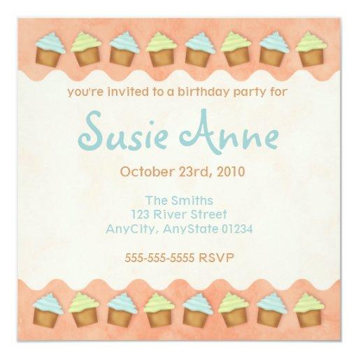 Orange Cute Cupcakes Invitation