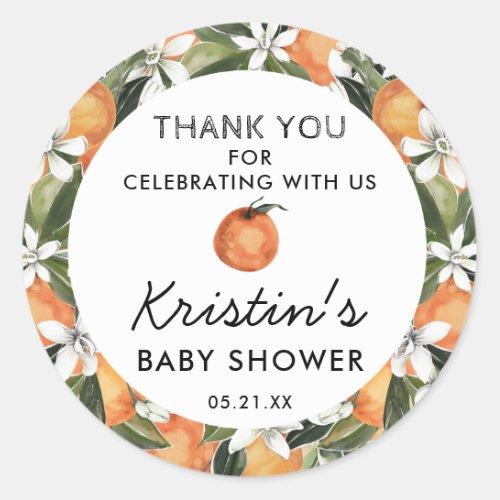 Orange Cutie Baby Shower Thank You Favor Classic Round Sticker