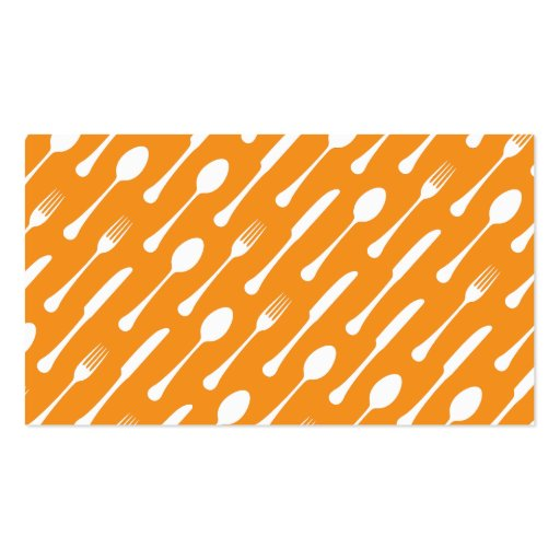 Orange cutlery pattern chef catering professional business cards