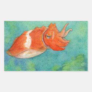 Orange Cuttlefish Watercolor Rectangular Sticker