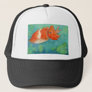 Orange Cuttlefish Watercolor Trucker Hat