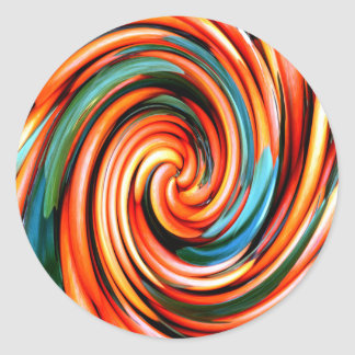 Orange Cyclone. Classic Round Sticker